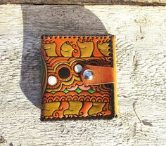 Leather Wallet Vintage Tri Fold Wallet Colorful from Estonia