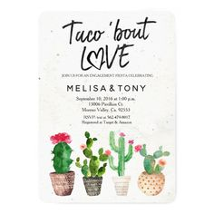 Cactus engagement party Invitation Taco Bout Love Cactus engagement party FIESTA Invitation, Taco Bout Love with cactus and floral. Perfect for baby shower, couples shower, bridal shower, etc. Fiesta Party, Party Ideas, Event Ideas, Party Wedding, Party Games, Wedding Bells, Wedding Decor, Wedding Ideas, Invitations