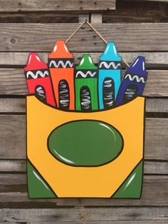 Your place to buy and sell all things handmade, Crayon Box Door Hanger Wall Decor School art Teacher Door Hangers, Teacher Doors, Teacher Door Signs, Porta Diy, Wood Crafts, Diy Crafts, Diy Wood, Wall Hanging Crafts, School Doors