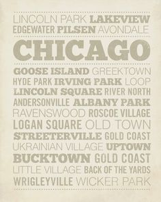 Chicago Neighborhood Wood Block Print by LuciusArt on Etsy, $39.00