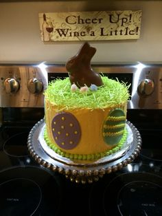 Easter cake- 4 layers choc and vanilla with vanilla buttercream frosting
