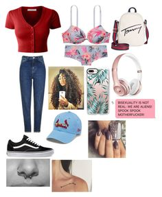 """🍕😍"" by okunicorn on Polyvore featuring LE3NO, Vans, Topshop, Victoria's Secret, Beats by Dr. Dre, Casetify and Tommy Hilfiger"