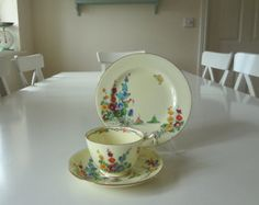 Antique Crown Staffordshire Hollyhock Cup & Saucer Porcelain Pattern Number 742202 Circa 1920 Made in England - EnglishPreserves