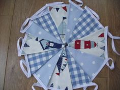 HANDMADE BOYS NAUTICAL LAURA ASHLEY GINGHAM BLUE LIGHTHOUSE BEACH HUT BUNTING