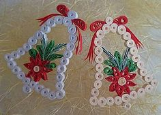 I made the bell with the quilling technique. second hand - Best Paper Quilling Designs Paper Quilling Cards, Paper Quilling Tutorial, Paper Quilling Flowers, Paper Quilling Patterns, Origami And Quilling, Quilled Paper Art, Quilling Craft, Origami Flowers, Quilling Christmas