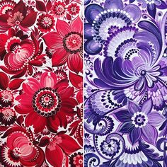 Burst of color for your feed ❤️. These are my paintings in Petrykivka style. . . . #burstofcolor #colorful #splashing_arts #splashofcolor #redandpurple #petrykivka #ukrainianart #creativepainting #painting #acrylicp