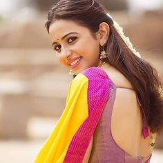 Rakul Preet in Yellow Saree with Cute and Lovely Smile in DEV Beautiful Girl Indian, Most Beautiful Indian Actress, Beautiful Saree, Beautiful Bollywood Actress, Beautiful Actresses, Beauty Full Girl, Beauty Women, How To Pose For Pictures, Saree Poses