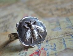 Honey Bee Ring, Bee Jewelry, Vintage Wax Seal Stamped Jewelry, in Fine Silver, Custom Sizes 4 5 6 7 8 9 10 11 12 13 14 Eco Friendly Gift. Vintage Bee, Vintage Rings, Vintage Jewelry, Etsy Vintage, Vintage Style, Honey Bee Jewelry, Silver Jewelry, Silver Rings, Fall Jewelry