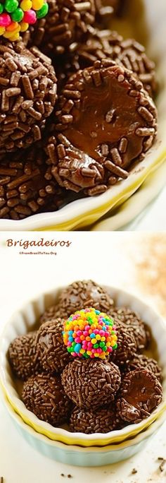 Brigadeiros - a Brazilian candy made of condensed milk, cocoa powder, butter and chocolate sprinkles