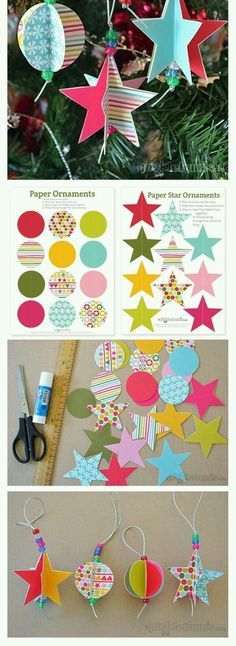 Star and Circle Paper Christmas Decorations - Free Printable. Make some of these easy, free printable, star and circle, paper Christmas decorations to hang on your Christmas tree. Christmas Paper, Christmas Crafts For Kids, Christmas Activities, Christmas Printables, Homemade Christmas, Christmas Projects, Holiday Crafts, Christmas Holidays, Origami Christmas