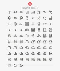 Network & Database Line Icons by Dreamstale on Creative Market