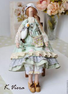 """Купить Кукла тильда Хлоя - """"летняя прохлада"""" - тильда тильда, тильда кукла, мятный ☆"""