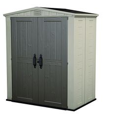 Keter Factor x Resin Storage Shed, All-Weather Plastic Outdoor Storage, Beige/Taupe Plastic Storage Sheds, Plastic Sheds, Garden Storage Shed, Outdoor Storage Sheds, Porch Storage, Bike Storage, Resin Sheds, Tall Cabinet Storage, Locker Storage