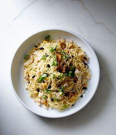 Spaghettini, prawns, charred corn, green chilli, black garlic recipe | Pasta recipe - Gourmet Traveller