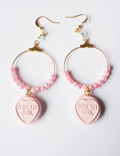 Love Hearts Earrings Pastel Pink Fairy Kei Sweets by XKawaiiCutieX, £5.00