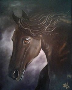 Dark Beauty Huile sur toile 20'' x 16'' Dark Beauty, Les Oeuvres, Moose Art, Horses, Animals, Oil On Canvas, Animales, Animaux, Animal