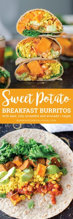 Try these healthy Sweet Potato Breakfast Burritos with kale, tofu scramble (optional) and avocado for an easy and delicious vegan breakfast option!