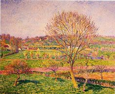 Camille Pissarro Big Walnut Tree at Eragny hand painted oil painting reproduction on canvas by artist Monet, Painting Gallery, Art Gallery, Painting Frames, Pierre Auguste Renoir, Edouard Manet, Camille Pissarro Paintings, Pissaro Paintings, Georges Seurat