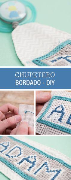 Tutorial DIY: Cómo hacer un chupetero bordado a punto de cruz - Bordado y costura en DaWanda.es