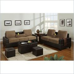 Poundex 5-Piece Living Room Set in Saddle Finish - A revolutionary piece of furniture perfect for lounging and entertaining, this beautiful 5 Piece living rooom set comes adorned in microfiber and framed in smooth faux leather or completely covered in faux leather. The Sofa features a center console that is easily hidden.    Features: Set Includes: Love Seat, Sofa, Set of two small seating ottomans and one cocktail ottoman Some assembly may be required Faux Leather Saddle Brown Finish Set is designed to bring a bit of elegance to any room of your home.  Specifications: Weight: 283 lbs.