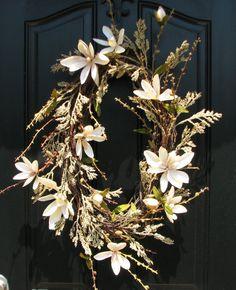 Summer Fall Floral Wreaths, Champagne Casa Wreath, Magnolia Wreath, Branches, Handmade Wreaths, Etsy Wreaths, Twoinspireyou, Summer Wreaths