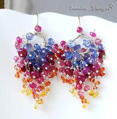 RESERVED for Elizabeth- Sorbet-Ruby,Tanzanite,Sapphires Fine999/Sterling Silver Chandelier Earrings