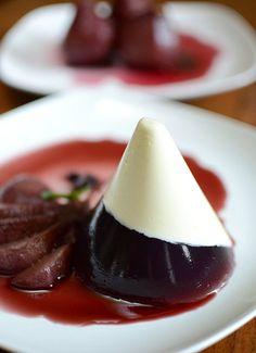 Poached Pears Wine & Mascarpone Jelly
