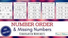 Are you a parent or a teacher helping children learn their number order? Get your number order kindergarten free printable worksheets today! Math Subtraction Worksheets, Number Worksheets Kindergarten, Pre K Worksheets, Numbers Preschool, Free Printable Worksheets, Free Printables, Ordering Numbers, Math Lesson Plans, Math For Kids