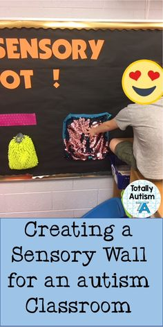 DIY sensory wall for an autism or self-contained classroom. I would use this idea as a way for students to receive sensory input throughout their day (within specific parameters). Sensory Activities For Autism, Autism Preschool, Autism Learning, Autism Classroom, New Classroom, Special Education Classroom, Preschool Classroom, Physical Education, Autism Resources