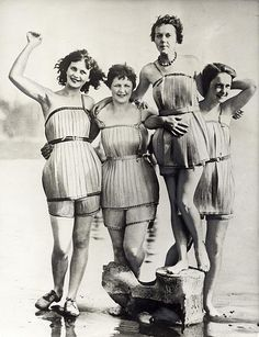 Wooden bathing suits, supposed to make swimming a lot easier. Haquian, Washington, USA, 1929