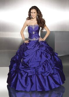 Custom Made Embroidery Ruffle Ball Gown Prom Dresses Evening Gowns Royal Blue