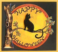 By Northwoods Rubber Stamps New. Happy HALLOWEEN Cat Moon Tree. Wood Mounted Rubber Stamp. Stamp #M9813. | eBay!