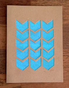 hand crafted Chevron Greeting Card ... kraft ... negative space chevrons backed in turquoise ... clean and simple ... luv it!!