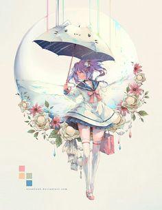 grafika anime, anime girl, and flowers