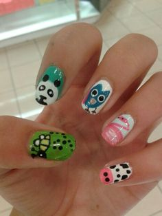 Cute and easy animal nails.
