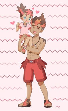 1boy 1girl black_hair blue_eyes brother_and_sister dark_skin dark_skinned_male eyes_closed heart highres hoshi_(pokemon) jewelry kaki_(pokemon) mei_(maysroom) multicolored_hair necklace open_mouth pink_shirt pokemon pokemon_(anime) pokemon_sm_(anime) ponytail red_hair red_shorts sandals shirt short_hair short_sleeves shorts siblings trial_captain two-tone_hair z-ring