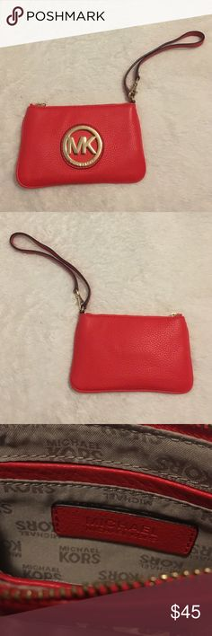 """Red leather Michael Kors Wristlet Red leather wristlet with gold MK emblem in great condition. Versatile 7"""" strap for easy carrying. Two small inside pockets are perfect for credit cards or lipstick. The red adds a bright pop of color to any outfit! Michael Kors Bags Clutches & Wristlets"""