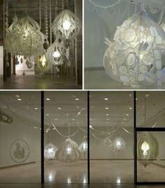 Lantern-Like Paper Art Installations by Kirsten Hassenfeld ~ 'Danse la Lune' is an installation in paper and mixed media by artist Kirsten Hassenfeld, with illuminated structures that resemble lanterns.