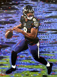 Sports Painting, Lamar Jackson, Football Art, Football Wallpaper, Space And Astronomy, Baltimore Ravens, Champs, Spiderman, Superhero