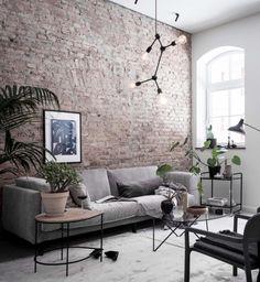 Fantastic Retro Living Room Design with Exposed Brick Wall Brick Interior, Interior Walls, Living Room Interior, Living Room Decor, Living Room Brick Wall, Brick Room, Brick Wall Decor, Brick Design, Bedroom Furniture Design