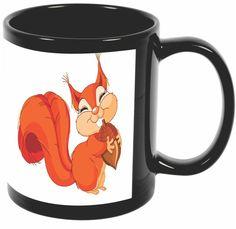 Rikki Knight Cute Squirrel holding acorn Design 11 oz Photo Quality BLACK Ceramic Coffee Mugs Cups - Dishwasher and Microwave Safe