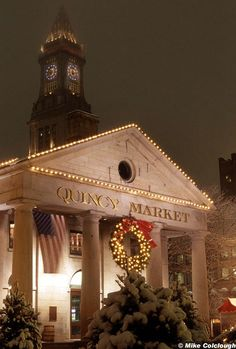 One of my favorte places in Boston:` Quincy Market, Customs House Tower The Places Youll Go, Great Places, Places Ive Been, Places To Go, Beautiful Places, San Diego, San Francisco, Christmas In Boston, Christmas Night