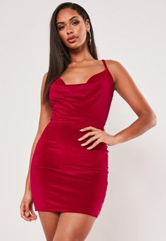 Women//Ladies Red Satin DressStrappy Cowl Neck Midi Available sizes 8-12