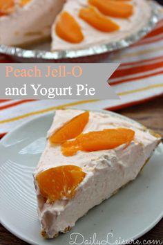 Peach Jell-O and Yogurt Pie #recipe #dessert