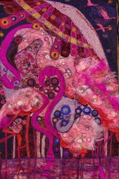 Frock Shock  Flamingos Shocking Pink. Wall by FabricsofNature