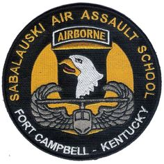 "Large 5 "" Diameter Embroidered Sabalauski AIR Assault School Patch - U. S. Army Air Assault - Ft Campbell, Kentuck - 101st Airborne Division"