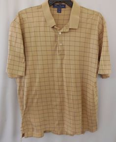 b9d67fc259d38e Alan Flusser Mens Polo Golf SHIRT Tan Check Cotton SS Sz L Large USA   AlanFlusser