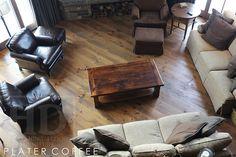 "Reclaimed Wood Coffee Table - Ontario Threshing Floor Board – 2"" top - Premium epoxy/matte polyurethane finish   Posted by Gerald Reinink, Design & Sales  Copyright HD Threshing Floor Furniture / www.hdthreshing.com"