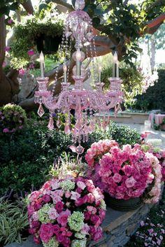 Beautiful pink chandelier and pink flowers for an outdoor wedding. Pink Garden, Dream Garden, Garden Art, Garden Ideas, Garden Whimsy, Roses Garden, Garden Inspiration, Beautiful Gardens, Beautiful Flowers