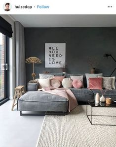 comfy bed bedroom ideas cozy navy and pink bedroom baby girl nursery purple lavender bedroom rose gold room pink office paris themed bedroom bedding ideas bedding ideas cozy pink bedrooms monotone interiors interior inspo interior apartment grey interior Apartment Interior, Apartment Living, Interior Design Living Room, Living Room Designs, Living Room Themes, Grey Interior Design, Interior Design For Apartments, Moodboard Interior Design, Modern Design
